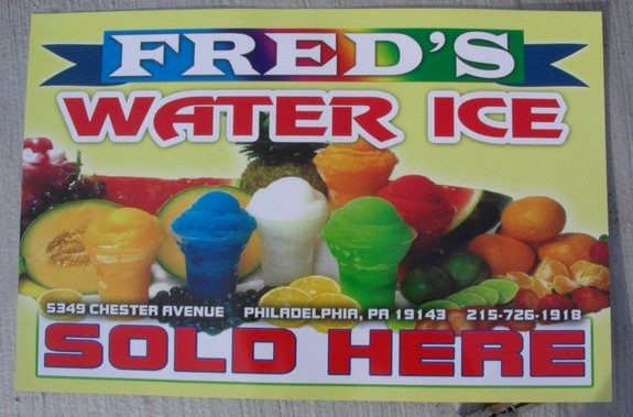 Fred's Water Ice - Sign & Address